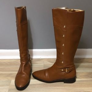 Michael Kors Carney Tall Riding Boots Gold Studs